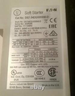 Eaton DS7-34DSX055N0-D Soft Starter 55A, 3P, 200-480VAC. NEW. Free Shipping