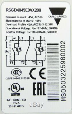 Carlo Gavazzi Rsgd4045e0vx200 3-phase Motor-softstarter 45a Ac Neu Dans Ovp