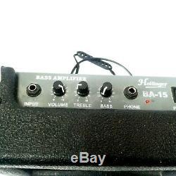 Guitare Basse Starter Kit Davison Basse Hollinger Ba-15 Amp Soft Case Et Livre