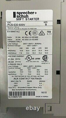 Sprecher & Schuh Pcs-030-600v / Pcs030600v (nouvelle Boîte Ouverte) Soft Starter